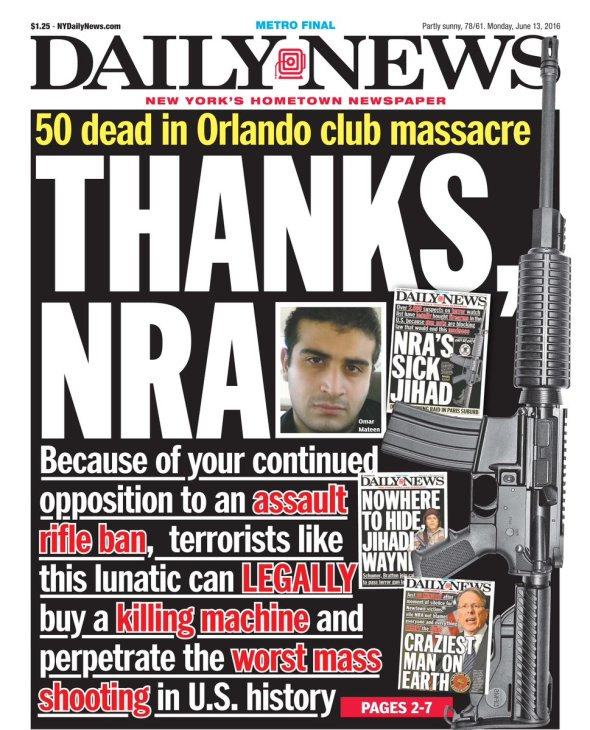 NY Daily News NRA Cover
